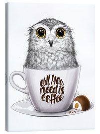 Stampa su tela  Owl you need is coffee - Nikita Korenkov