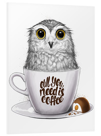 Stampa su schiuma dura  Owl you need is coffee - Nikita Korenkov