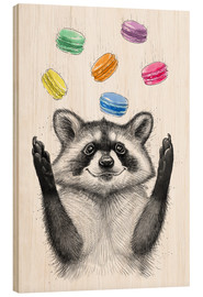 Stampa su legno  Raccoon and cookies - Nikita Korenkov