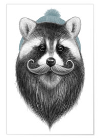Poster Premium  Bearded raccoon - Nikita Korenkov