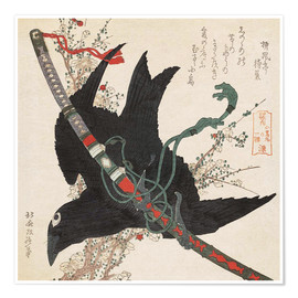 Poster  The Little Raven with the Minamoto clan sword - Katsushika Hokusai