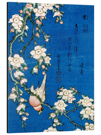 Alluminio Dibond  Bullfinch and weeping cherry - Katsushika Hokusai