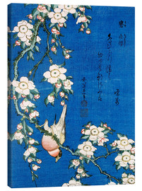 Tela  Bullfinch and weeping cherry - Katsushika Hokusai
