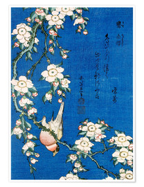 Poster  Bullfinch and weeping cherry - Katsushika Hokusai