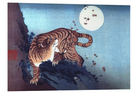 Stampa su schiuma dura  The Tiger and the Moon - Katsushika Hokusai