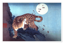 Poster  The Tiger and the Moon - Katsushika Hokusai