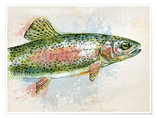 Poster Splashing Rainbow Trout