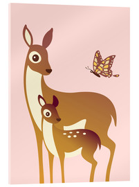 Vetro acrilico  Mom And Baby Deer With Butterfly - Ashley Verkamp