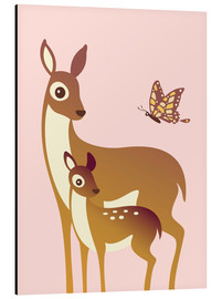 Alluminio Dibond  Mom And Baby Deer With Butterfly - Ashley Verkamp