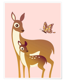 Poster Premium  Mom And Baby Deer With Butterfly - Ashley Verkamp