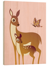 Legno  Mom And Baby Deer With Butterfly - Ashley Verkamp