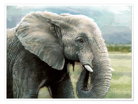 Poster African Elephant In The Savanna Wilds