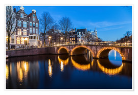 Poster Premium  Amsterdam Bridges at night - Mike Clegg Photography