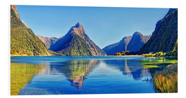 Stampa su PVC  Milford Sound Mitre Peak Reflection New Zealand - Michael Rucker