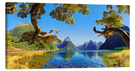 Stampa su tela  Look in the Milford Sound New Zealand - Michael Rucker