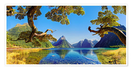 Poster Premium  Look in the Milford Sound New Zealand - Michael Rucker