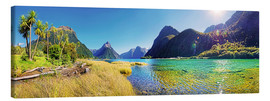 Stampa su tela  Milford Sound with palms New Zealand - Michael Rucker