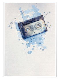 Poster Premium Music tape with flowers and watercolour wash