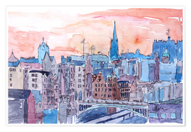 Poster Premium  Edinburgh Sunset Over Old Town Scotland - M. Bleichner