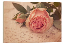 Stampa su legno  Rose on the old letter - Elena Schweitzer