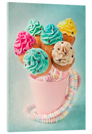 Stampa su vetro acrilico  Colorful cupcake pops on blue background - Elena Schweitzer