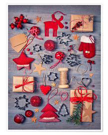 Poster Premium  Christmas deco auf dem wooden background - Elena Schweitzer