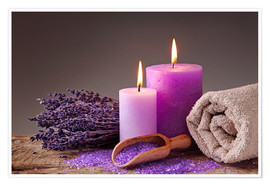 Poster Premium  Spa still life with candles and lavender - Elena Schweitzer