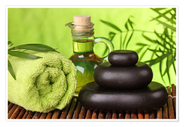 Poster Premium Spa still life with hot stones and essential oil