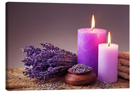 Stampa su tela  Spa still life with candles and lavender - Elena Schweitzer