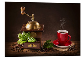 Schiuma dura  Coffee mill with beans and green leaves and a cup of coffee - Elena Schweitzer