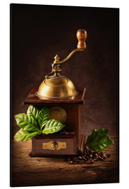 Alluminio Dibond  Coffee mill with beans and green leaves and a cup of coffee - Elena Schweitzer