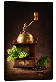 Tela  Coffee mill with beans and green leaves and a cup of coffee - Elena Schweitzer
