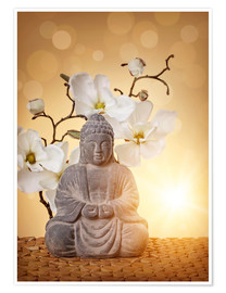 Poster Premium Buddha statue and orchid