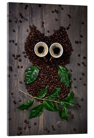 Stampa su vetro acrilico  Coffee owl from beans, leaves and cups - Elena Schweitzer