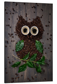 Stampa su alluminio  Coffee owl from beans, leaves and cups - Elena Schweitzer