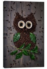 Stampa su tela  Coffee owl from beans, leaves and cups - Elena Schweitzer
