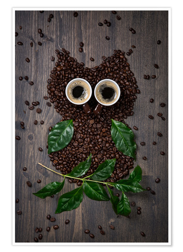 Poster Premium Coffee owl from beans, leaves and cups