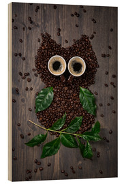 Stampa su legno  Coffee owl from beans, leaves and cups - Elena Schweitzer