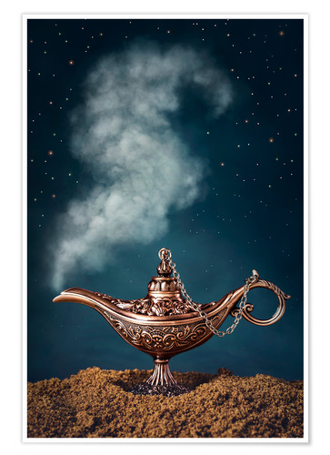 Poster Premium Aladdin magic lamp with smoke