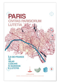 Poster Premium Paris city map