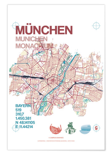 Poster Premium Munich city map