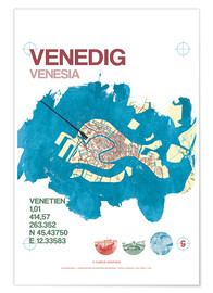 Poster Premium  Venice city motif card - campus graphics