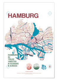 Poster Premium Hamburg city motif map