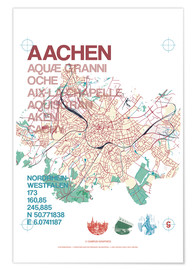 Poster Premium Aachen city motif map