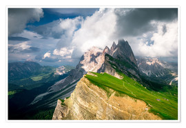 Poster Premium  Seceda - South Tyrol - Mountain panorama - Sebastian Jakob