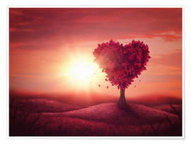 Poster Premium Tree with heart shape