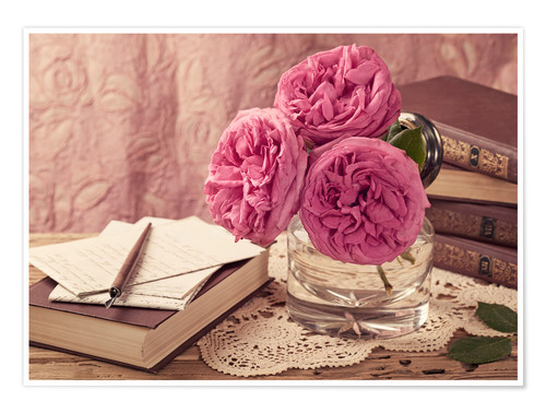 Poster Premium Roses and the books