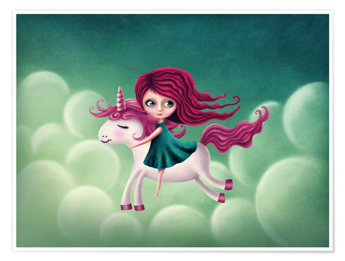 Poster Premium Illustration with a unicorn with a girl