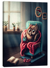 Stampa su tela  Owl with a cup of coffee - Elena Schweitzer