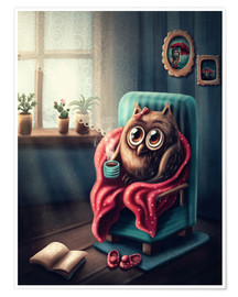 Poster Premium  Owl with a cup of coffee - Elena Schweitzer